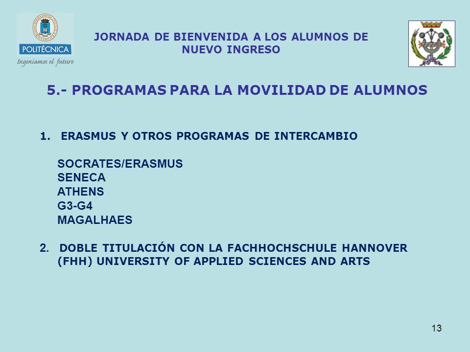 13 JORNADA DE BIENVENIDA A LOS ALUMNOS DE NUEVO INGRESO 5.- PROGRAMAS PARA LA MOVILIDAD DE ALUMNOS 1.