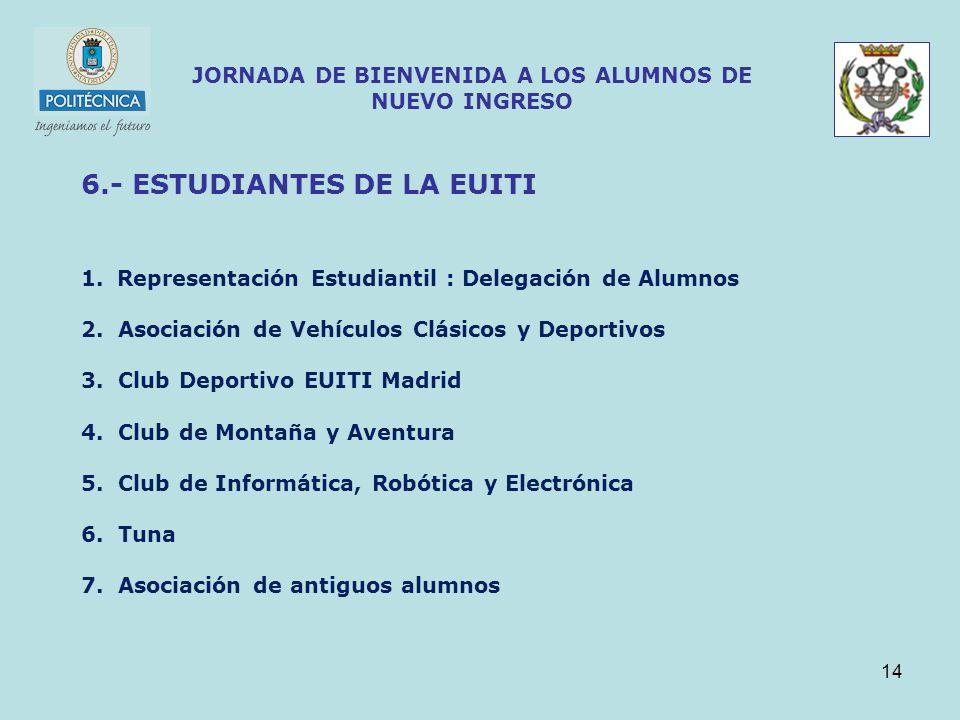 14 JORNADA DE BIENVENIDA A LOS ALUMNOS DE NUEVO INGRESO 6.- ESTUDIANTES DE LA EUITI 1.Representación Estudiantil : Delegación de Alumnos 2. Asociación