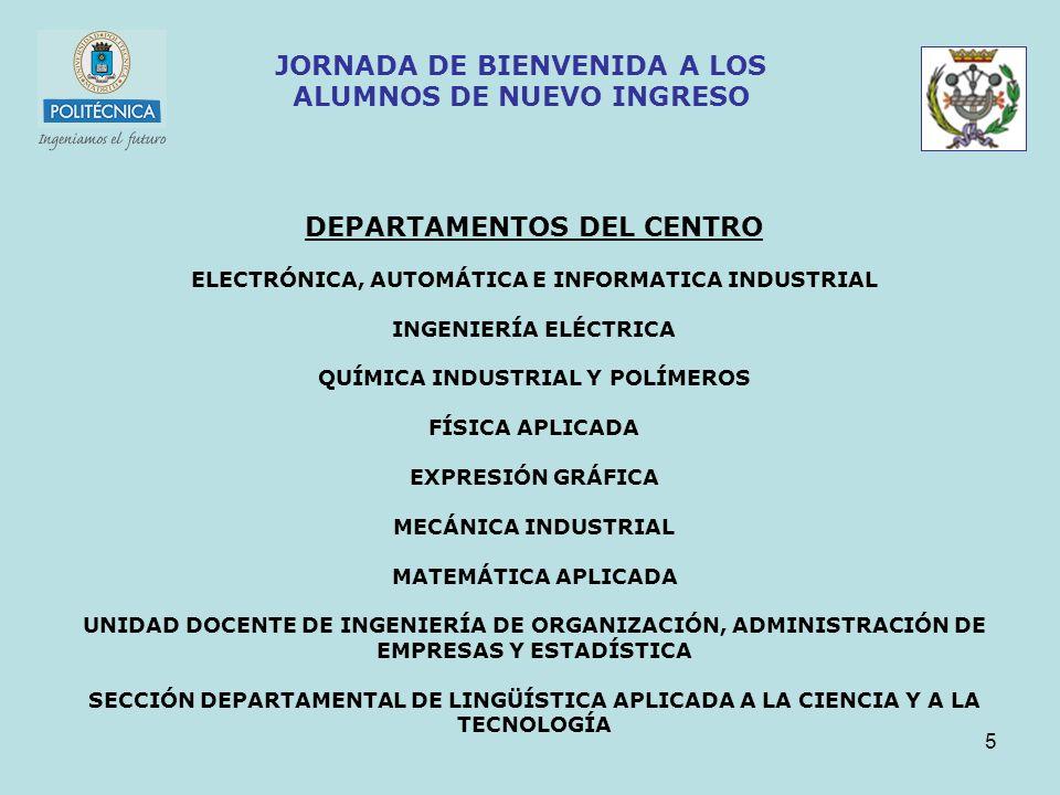 5 JORNADA DE BIENVENIDA A LOS ALUMNOS DE NUEVO INGRESO DEPARTAMENTOS DEL CENTRO ELECTRÓNICA, AUTOMÁTICA E INFORMATICA INDUSTRIAL INGENIERÍA ELÉCTRICA QUÍMICA INDUSTRIAL Y POLÍMEROS FÍSICA APLICADA EXPRESIÓN GRÁFICA MECÁNICA INDUSTRIAL MATEMÁTICA APLICADA UNIDAD DOCENTE DE INGENIERÍA DE ORGANIZACIÓN, ADMINISTRACIÓN DE EMPRESAS Y ESTADÍSTICA SECCIÓN DEPARTAMENTAL DE LINGÜÍSTICA APLICADA A LA CIENCIA Y A LA TECNOLOGÍA