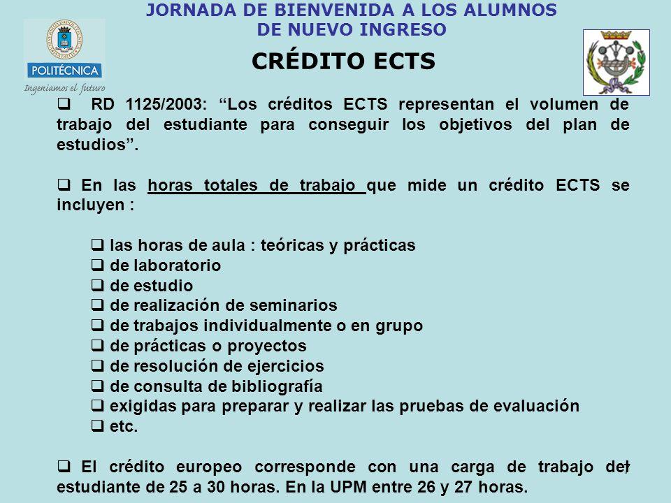7 JORNADA DE BIENVENIDA A LOS ALUMNOS DE NUEVO INGRESO CRÉDITO ECTS RD 1125/2003: Los créditos ECTS representan el volumen de trabajo del estudiante p