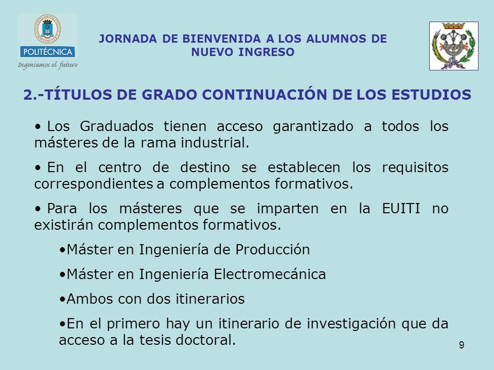 9 JORNADA DE BIENVENIDA A LOS ALUMNOS DE NUEVO INGRESO 2.-TÍTULOS DE GRADO CONTINUACIÓN DE LOS ESTUDIOS Los Graduados tienen acceso garantizado a todo