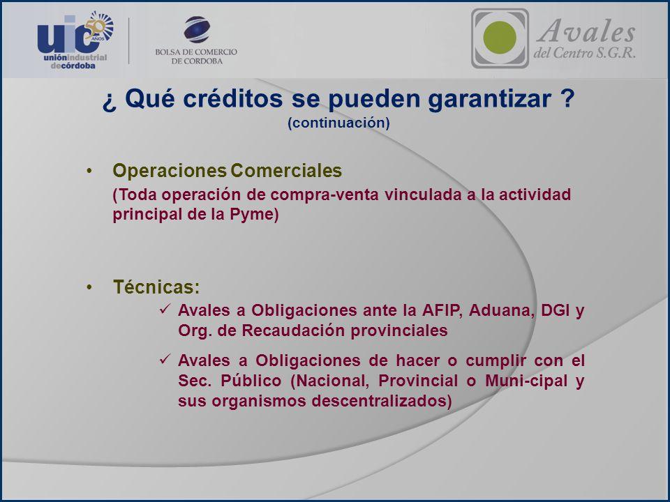 Operaciones Comerciales (Toda operación de compra-venta vinculada a la actividad principal de la Pyme) Técnicas: Avales a Obligaciones ante la AFIP, A