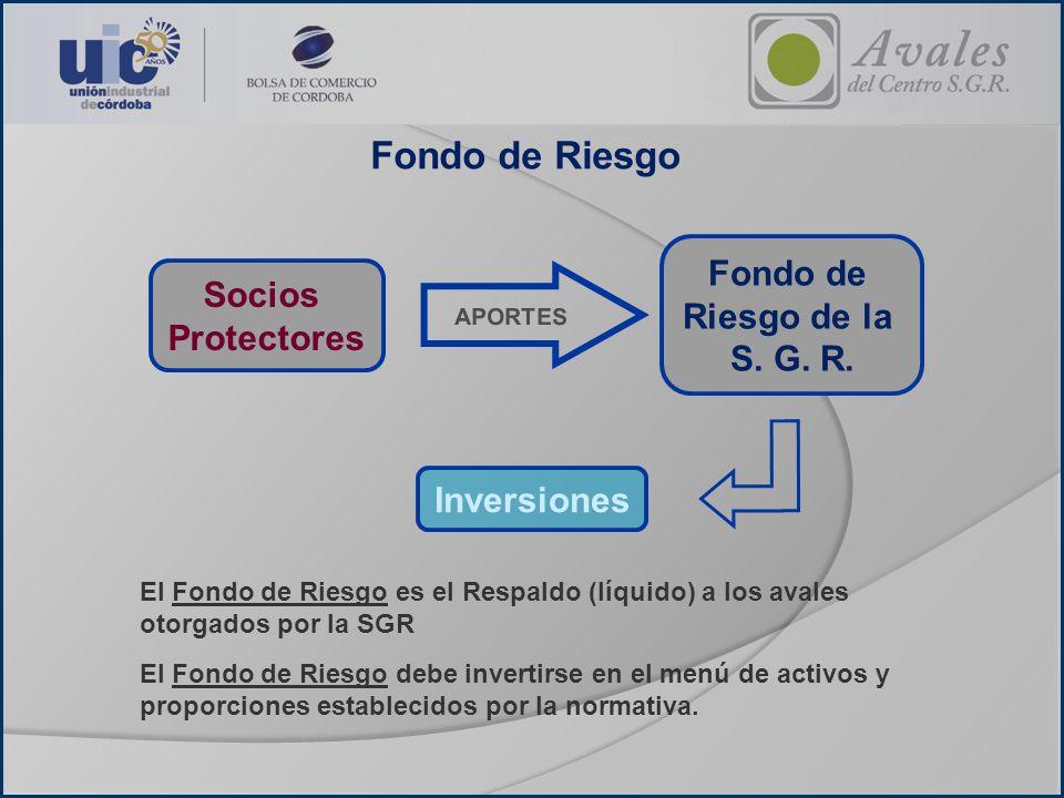 Fondo de Riesgo Socios Protectores Fondo de Riesgo de la S. G. R. APORTES Inversiones El Fondo de Riesgo es el Respaldo (líquido) a los avales otorgad