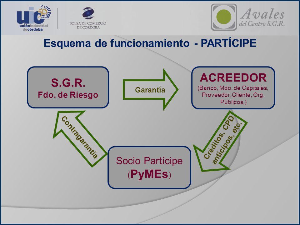 Esquema de funcionamiento - PARTÍCIPE Socio Partícipe ( PyMEs ) ACREEDOR (Banco, Mdo. de Capitales, Proveedor, Cliente, Org. Públicos.) Garantía Contr