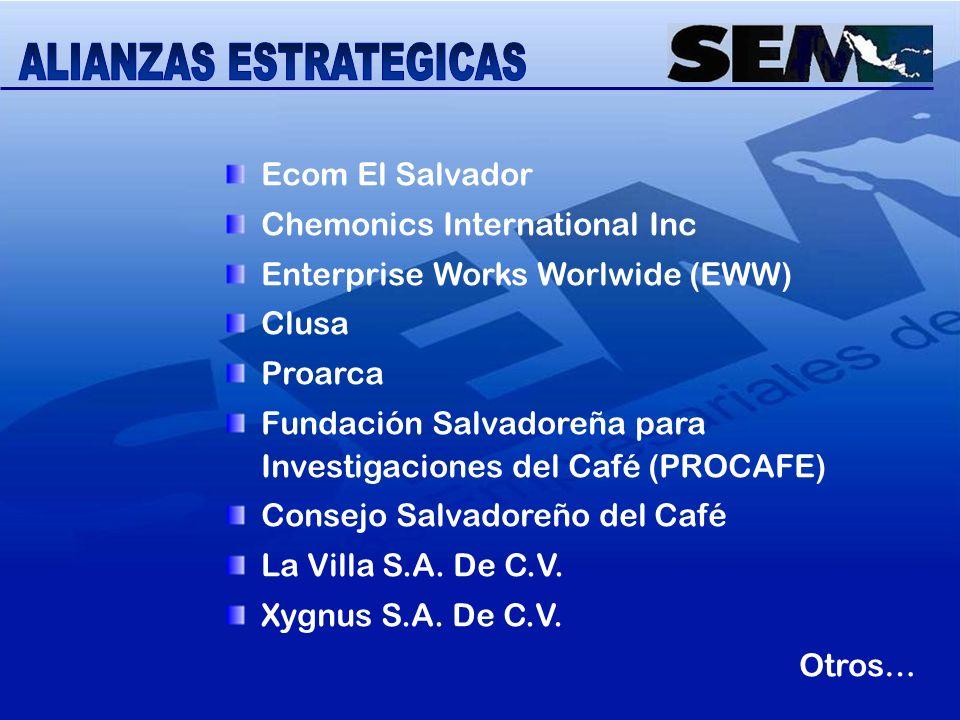 Ecom El Salvador Chemonics International Inc Enterprise Works Worlwide (EWW) Clusa Proarca Fundación Salvadoreña para Investigaciones del Café (PROCAF