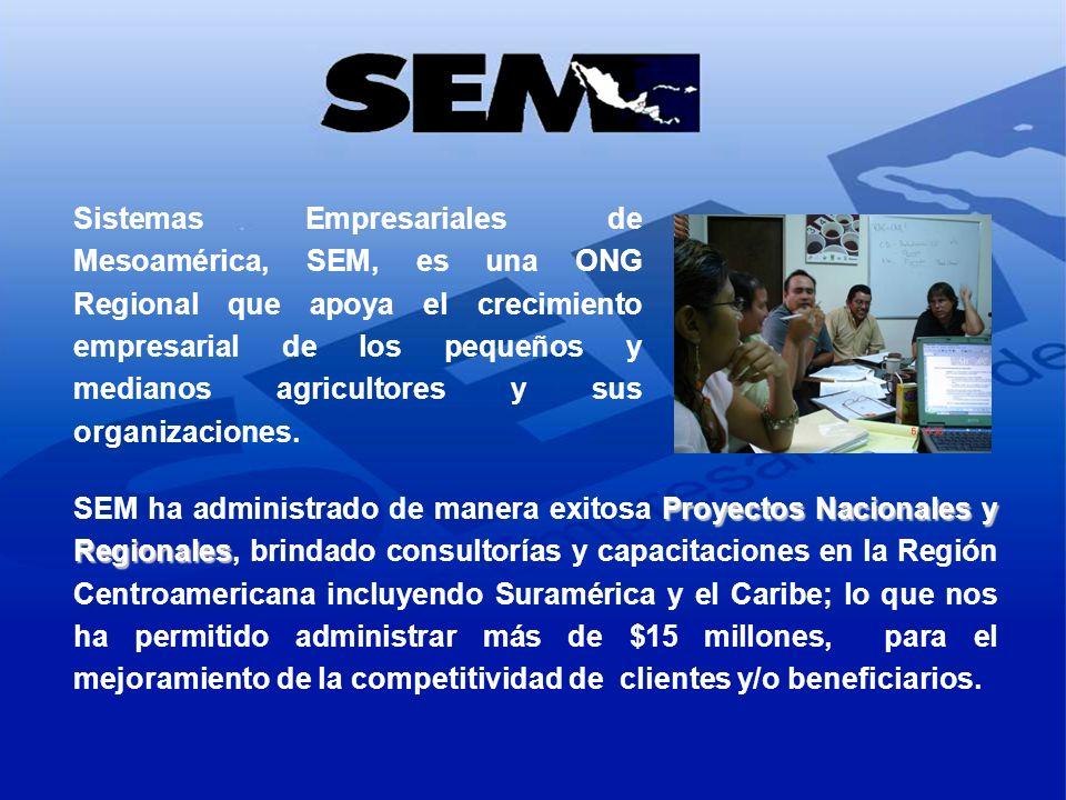 Sistemas Empresariales de Mesoamérica, SEM, es una ONG Regional que apoya el crecimiento empresarial de los pequeños y medianos agricultores y sus org