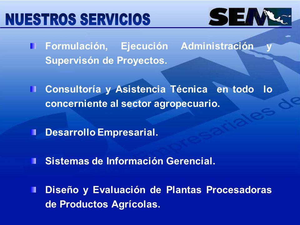 Formulación, Ejecución Administración y Supervisón de Proyectos. Consultoría y Asistencia Técnica en todo lo concerniente al sector agropecuario. Desa