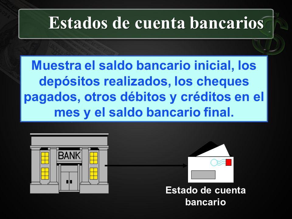 Estados de cuenta bancarios Muestra el saldo bancario inicial, los depósitos realizados, los cheques pagados, otros débitos y créditos en el mes y el