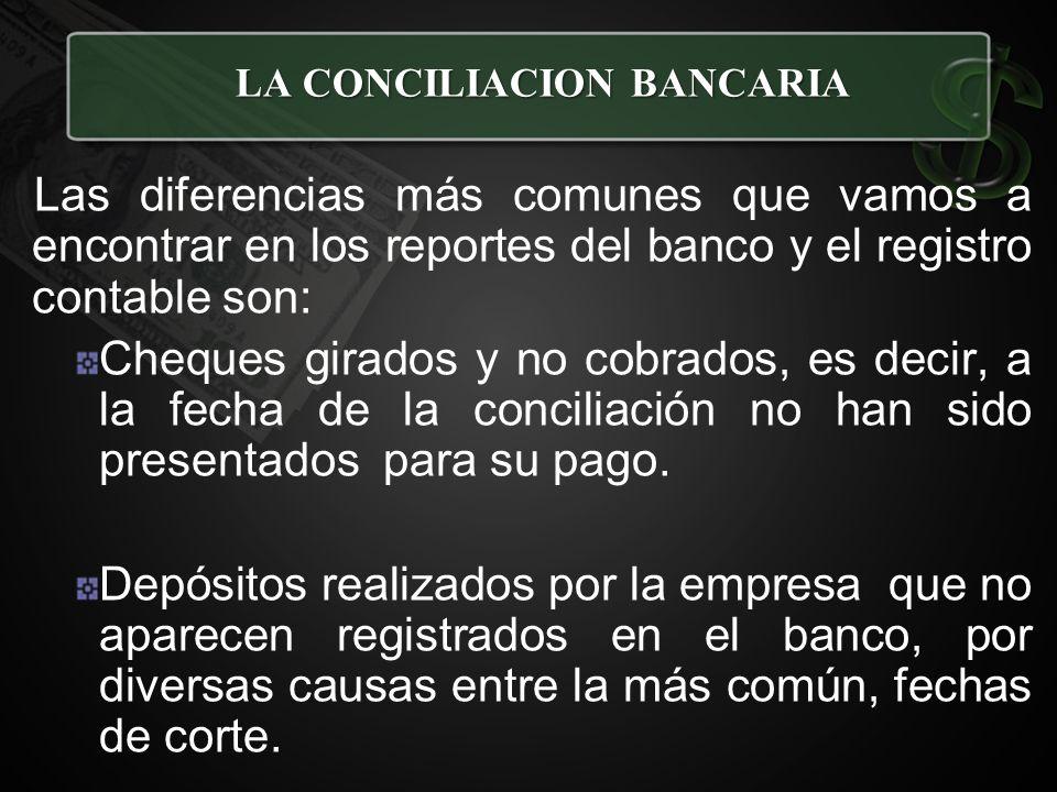 Las diferencias más comunes que vamos a encontrar en los reportes del banco y el registro contable son: Cheques girados y no cobrados, es decir, a la