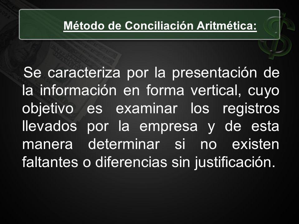 Método de Conciliación Aritmética: Se caracteriza por la presentación de la información en forma vertical, cuyo objetivo es examinar los registros lle