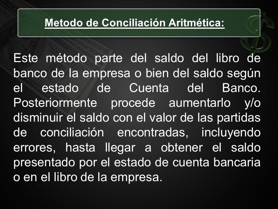 Metodo de Conciliación Aritmética: Este método parte del saldo del libro de banco de la empresa o bien del saldo según el estado de Cuenta del Banco.