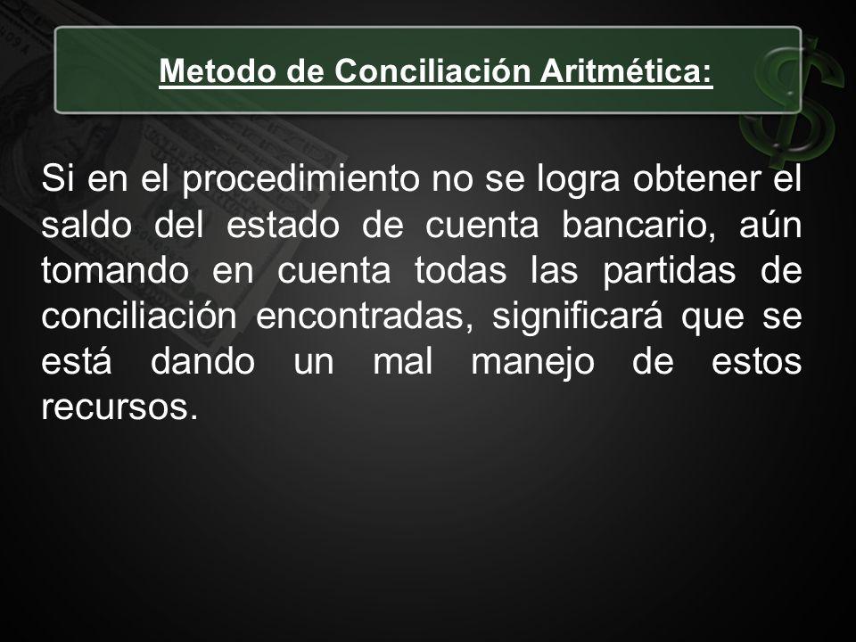Metodo de Conciliación Aritmética: Si en el procedimiento no se logra obtener el saldo del estado de cuenta bancario, aún tomando en cuenta todas las