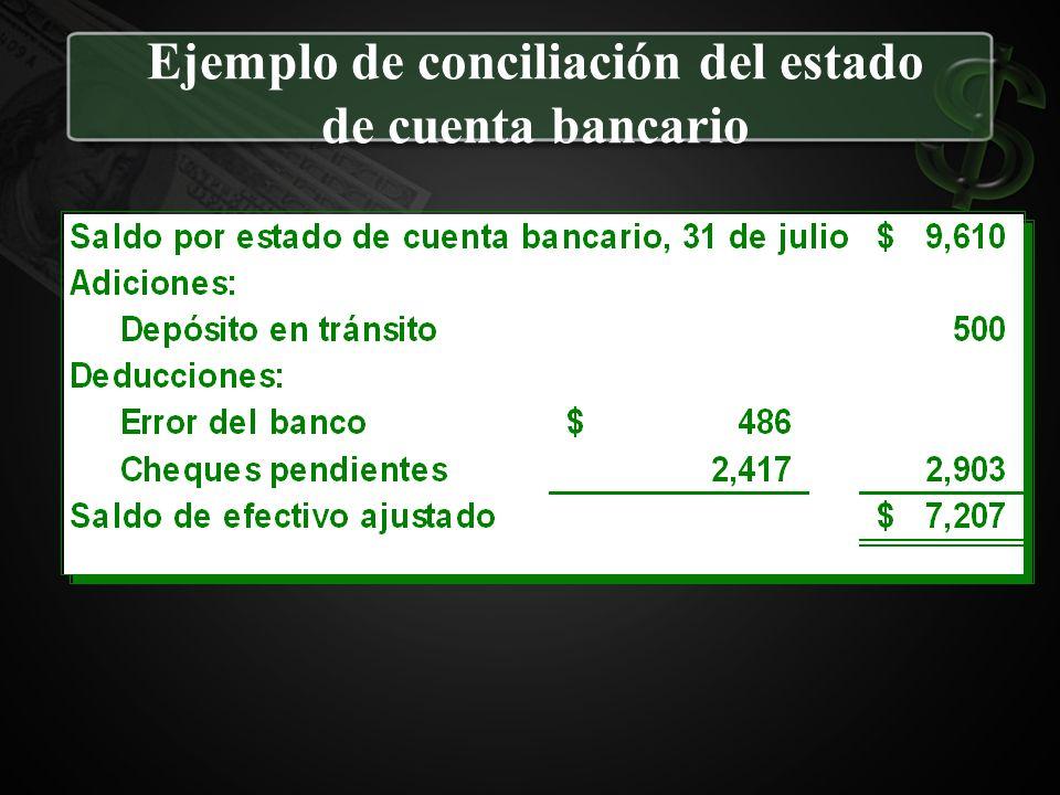 Ejemplo de conciliación del estado de cuenta bancario