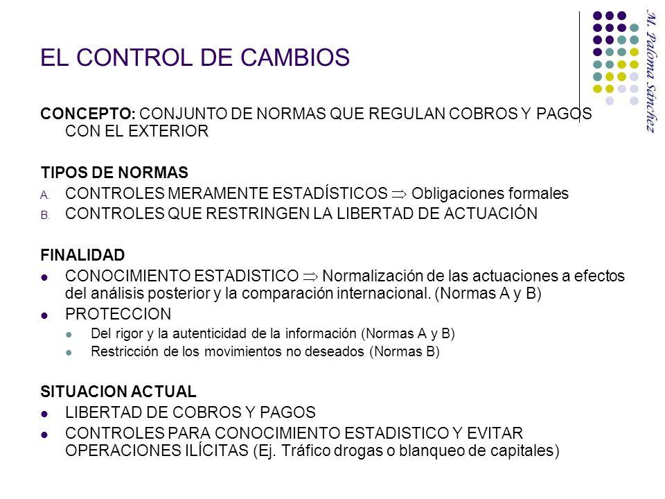 EL CONTROL DE CAMBIOS CONCEPTO: CONJUNTO DE NORMAS QUE REGULAN COBROS Y PAGOS CON EL EXTERIOR TIPOS DE NORMAS A. CONTROLES MERAMENTE ESTADÍSTICOS Obli