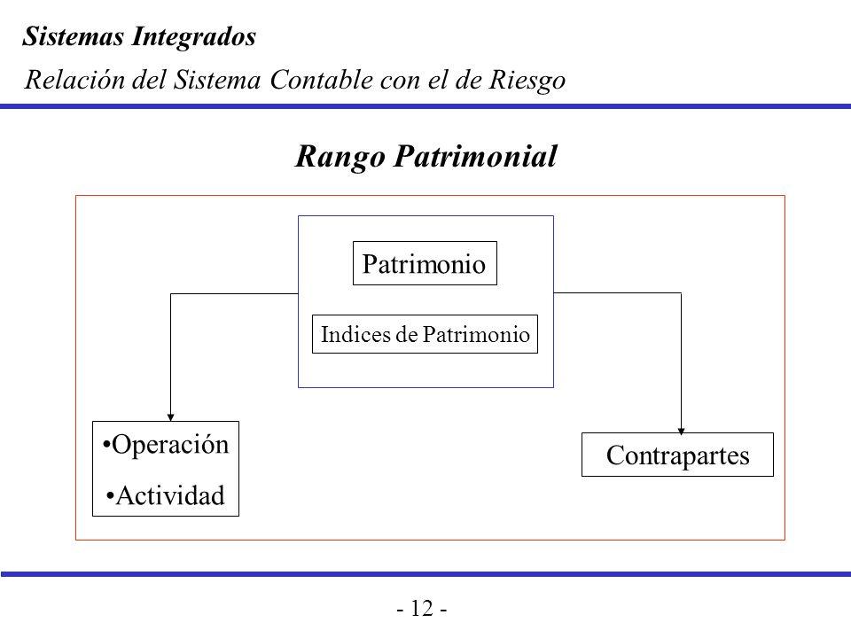 Sistemas Integrados - 12 - Relación del Sistema Contable con el de Riesgo Operación Actividad Patrimonio Indices de Patrimonio Contrapartes Rango Patr