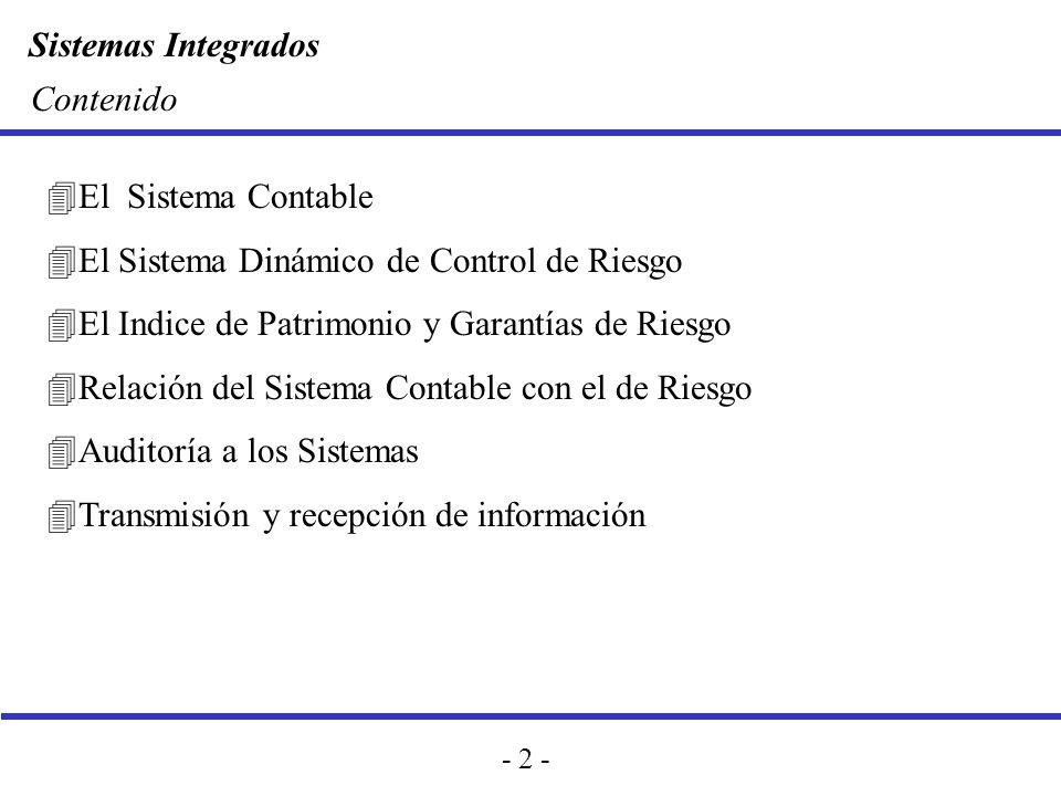 Sistemas Integrados - 2 - Contenido 4El Sistema Contable 4El Sistema Dinámico de Control de Riesgo 4El Indice de Patrimonio y Garantías de Riesgo 4Rel