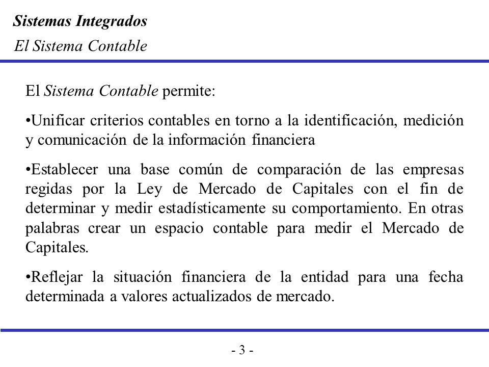 Sistemas Integrados - 3 - El Sistema Contable El Sistema Contable permite: Unificar criterios contables en torno a la identificación, medición y comun