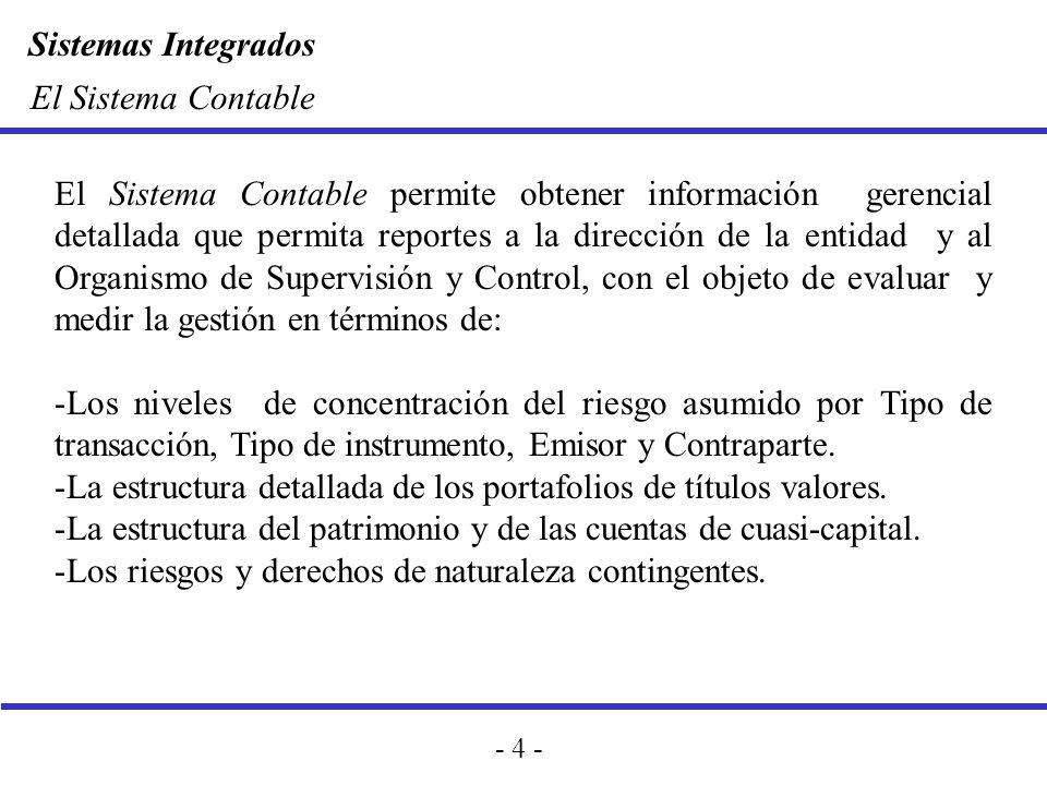 Sistemas Integrados - 4 - El Sistema Contable El Sistema Contable permite obtener información gerencial detallada que permita reportes a la dirección