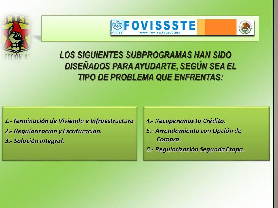 1.- Terminación de Vivienda e Infraestructura 2.- Regularización y Escrituración.