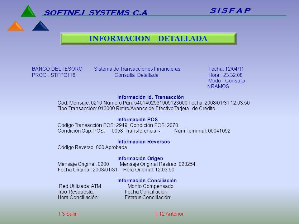 BANCO DEL TESORO Sistema de Transacciones Financieras Fecha: 12/04/11 PROG.: STFPG116 Consulta Detallada Hora.: 23:32:08 Modo : Consulta NRAMOS Inform