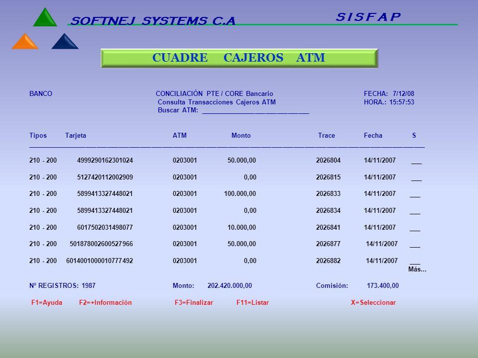 BANCO CONCILIACIÓN PTE / CORE Bancario FECHA: 7/12/08 Consulta Transacciones Cajeros ATM HORA.: 15:57:53 Buscar ATM: ______________________________ Ti