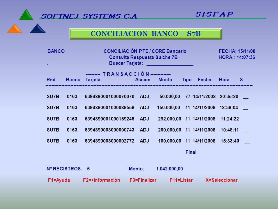 BANCO CONCILIACIÓN PTE / CORE Bancario FECHA: 15/11/08 Consulta Respuesta Suiche 7B HORA.: 14:07:36. Buscar Tarjeta: __________________ ---------- T R
