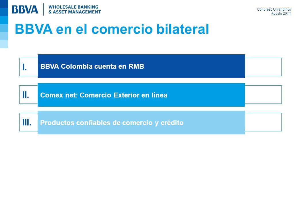Congreso Uniandinos Agosto 2011 I. BBVA Colombia cuenta en RMB II. Comex net: Comercio Exterior en línea III. Productos confiables de comercio y crédi