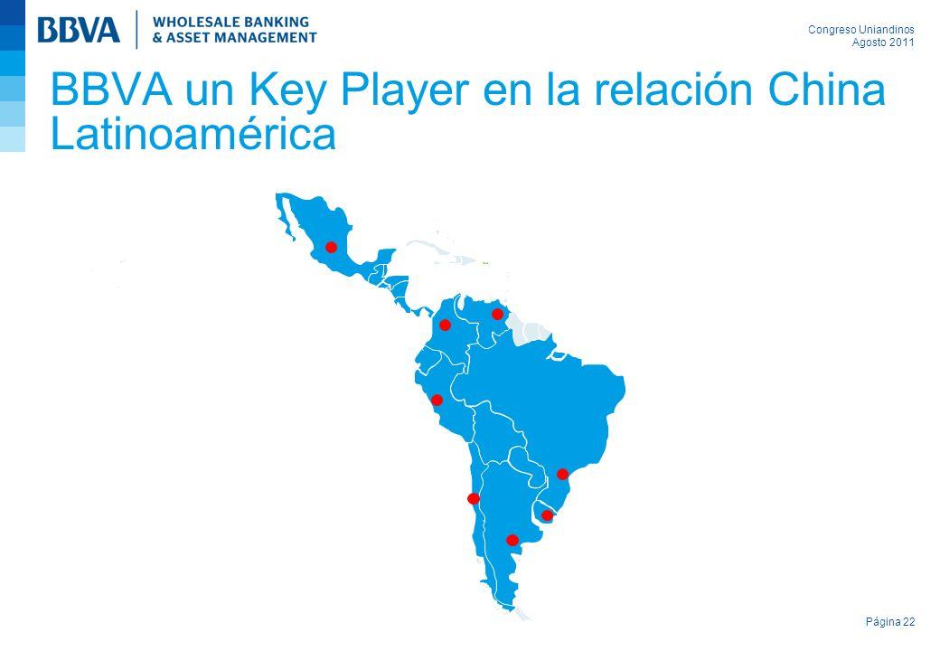 Congreso Uniandinos Agosto 2011 Página 22 BBVA un Key Player en la relación China Latinoamérica