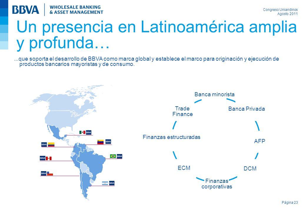 Congreso Uniandinos Agosto 2011 Página 23 Un presencia en Latinoamérica amplia y profunda… Banca minorista AFP DCM Finanzas corporativas ECM Finanzas