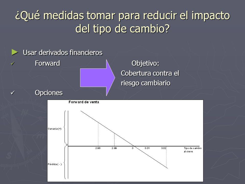 ¿Qué medidas tomar para reducir el impacto del tipo de cambio? Usar derivados financieros Usar derivados financieros Forward Objetivo: Forward Objetiv