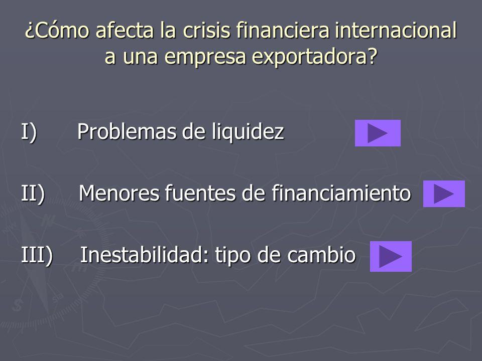 ¿Cómo afecta la crisis financiera internacional a una empresa exportadora? I) Problemas de liquidez II) Menores fuentes de financiamiento III) Inestab