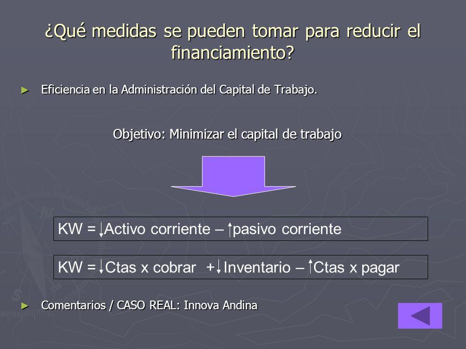 ¿Qué medidas se pueden tomar para reducir el financiamiento? Eficiencia en la Administración del Capital de Trabajo. Eficiencia en la Administración d