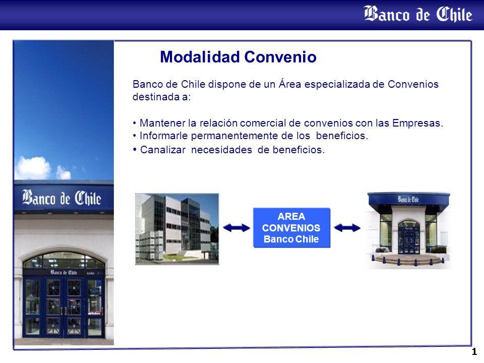 1 Banco de Chile dispone de un Área especializada de Convenios destinada a: Mantener la relación comercial de convenios con las Empresas. Informarle p
