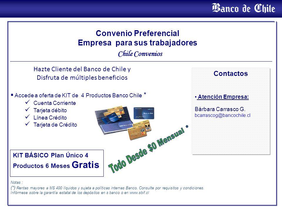 Convenio Preferencial Empresa para sus trabajadores Chile Convenios Accede a oferta de KIT de 4 Productos Banco Chile * Cuenta Corriente Tarjeta débit