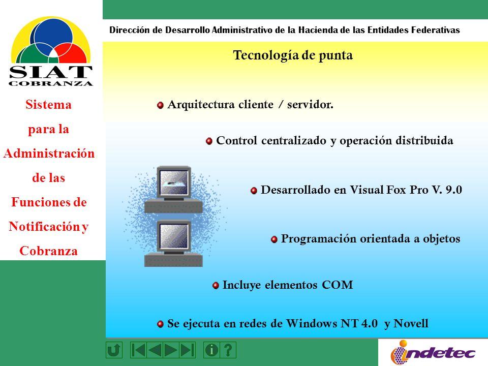 Sistema para la Administración de las Funciones de Notificación y Cobranza Dirección de Desarrollo Administrativo de la Hacienda de las Entidades Federativas Control centralizado y operación distribuida Desarrollado en Visual Fox Pro V.