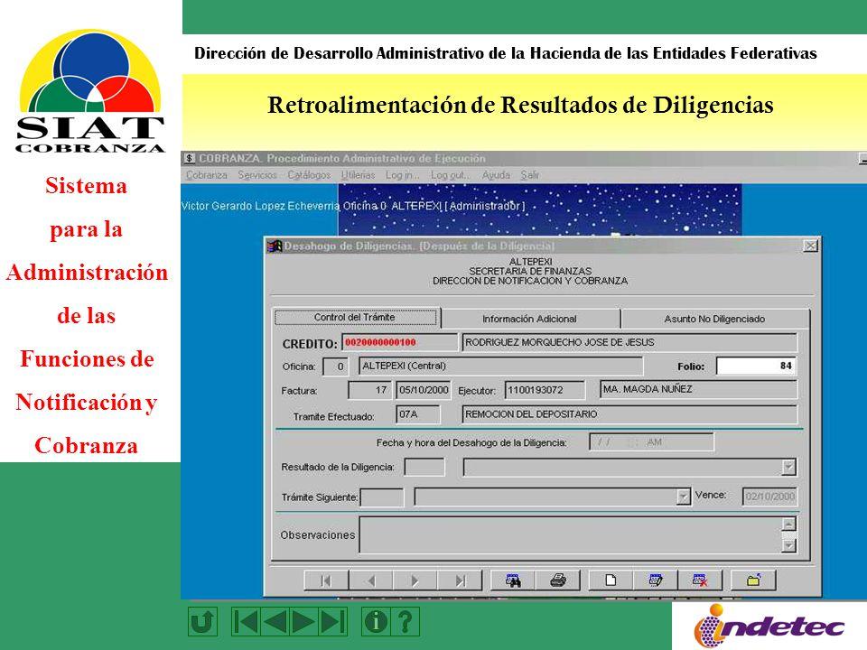 Sistema para la Administración de las Funciones de Notificación y Cobranza Dirección de Desarrollo Administrativo de la Hacienda de las Entidades Federativas Retroalimentación de Resultados de Diligencias
