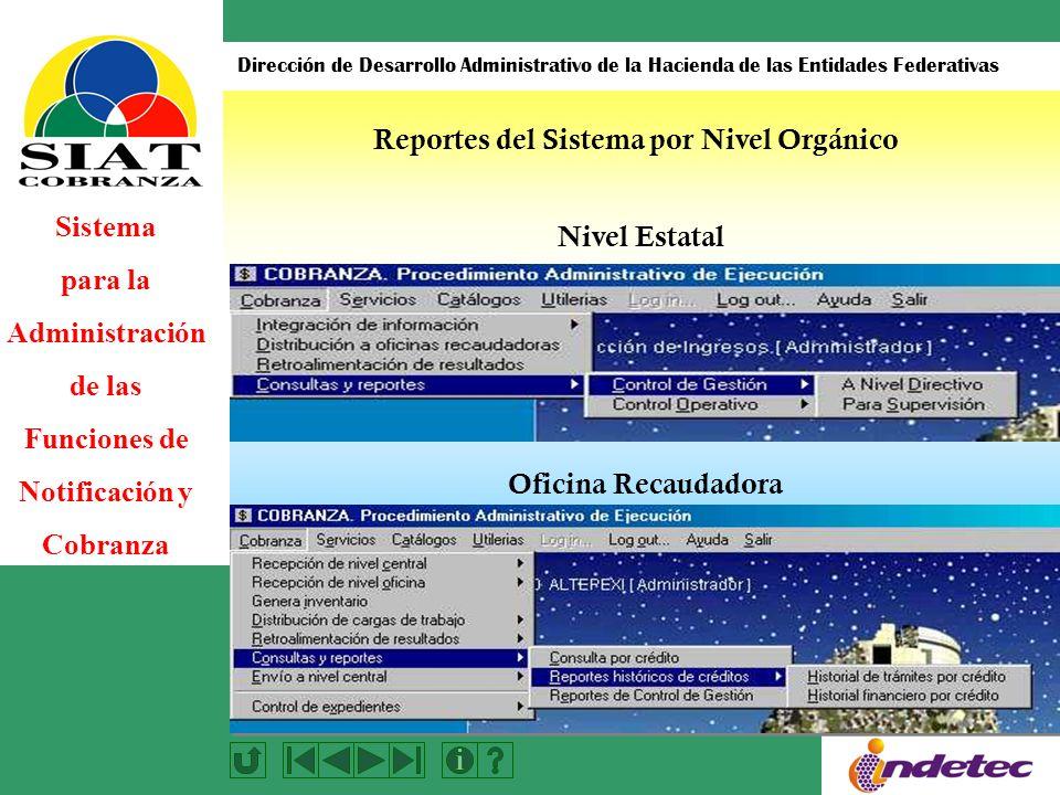 Sistema para la Administración de las Funciones de Notificación y Cobranza Dirección de Desarrollo Administrativo de la Hacienda de las Entidades Federativas Nivel Estatal Oficina Recaudadora Reportes del Sistema por Nivel Orgánico