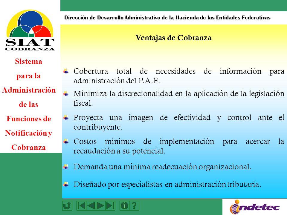 Sistema para la Administración de las Funciones de Notificación y Cobranza Dirección de Desarrollo Administrativo de la Hacienda de las Entidades Federativas Costos mínimos de implementación para acercar la recaudación a su potencial.