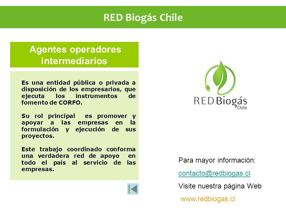 Agentes operadores intermediarios Es una entidad pública o privada a disposición de los empresarios, que ejecuta los instrumentos de fomento de CORFO.