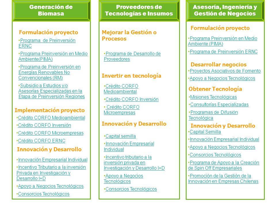 Generación de Biomasa Programa de Preinversión ERNCPrograma de Preinversión ERNC Programa Preinversión en Medio Ambiente(PIMA)Programa Preinversión en