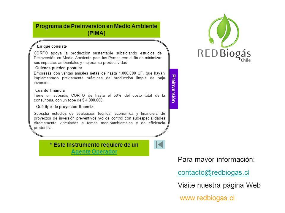 En qué consiste Qué tipo de proyectos financia CORFO apoya la producción sustentable subsidiando estudios de Preinversión en Medio Ambiente para las P