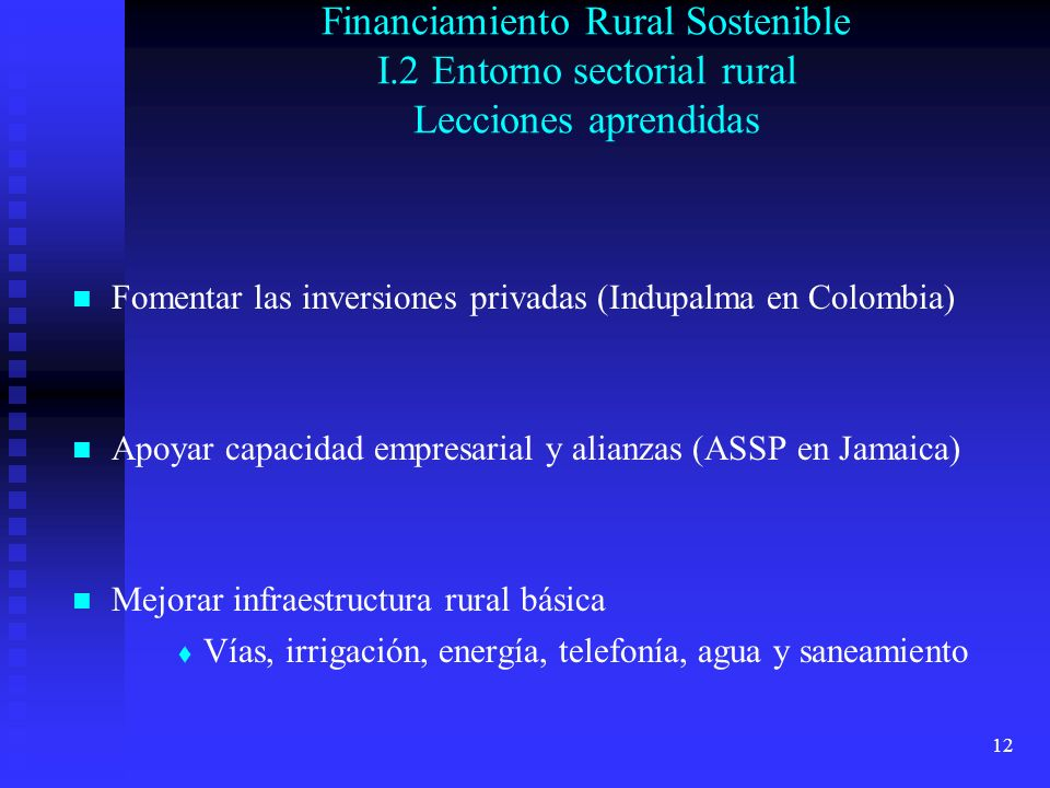 12 Financiamiento Rural Sostenible I.2 Entorno sectorial rural Lecciones aprendidas Fomentar las inversiones privadas (Indupalma en Colombia) Apoyar capacidad empresarial y alianzas (ASSP en Jamaica) Mejorar infraestructura rural básica Vías, irrigación, energía, telefonía, agua y saneamiento