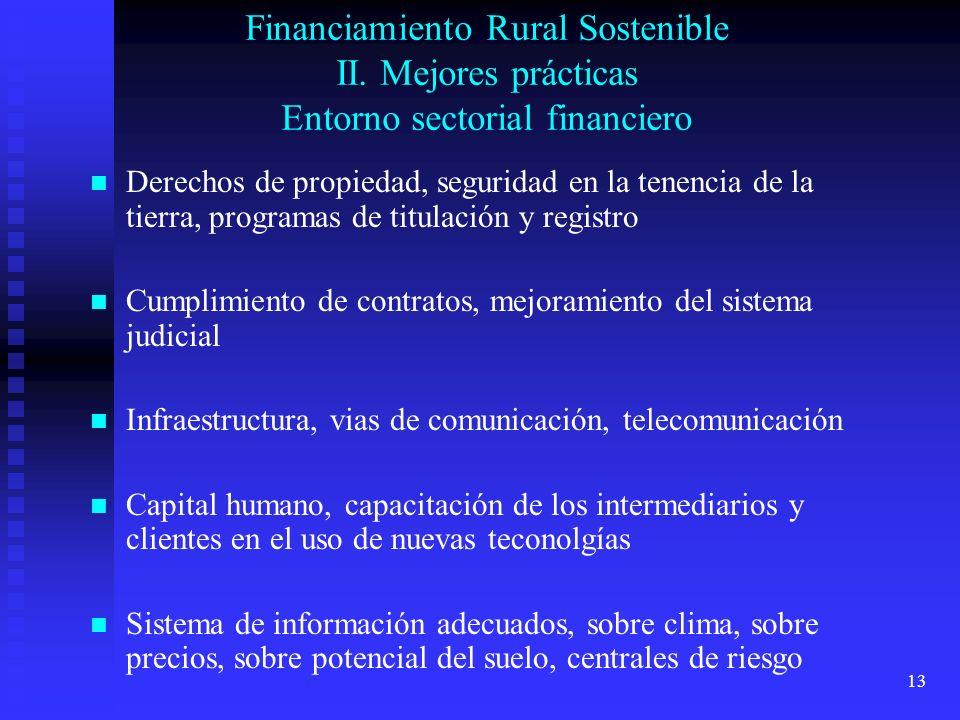 13 Financiamiento Rural Sostenible II. Mejores prácticas Entorno sectorial financiero Derechos de propiedad, seguridad en la tenencia de la tierra, pr
