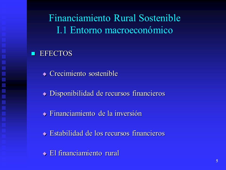 5 Financiamiento Rural Sostenible I.1 Entorno macroeconómico EFECTOS EFECTOS Crecimiento sostenible Crecimiento sostenible Disponibilidad de recursos financieros Disponibilidad de recursos financieros Financiamiento de la inversión Financiamiento de la inversión Estabilidad de los recursos financieros Estabilidad de los recursos financieros El financiamiento rural El financiamiento rural