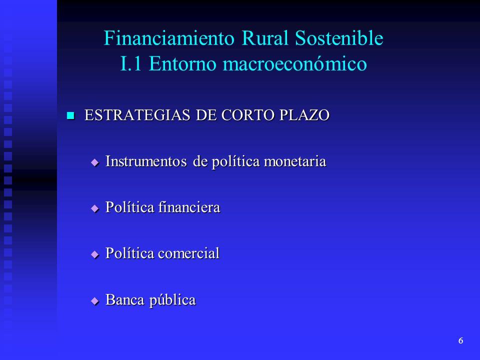 6 Financiamiento Rural Sostenible I.1 Entorno macroeconómico ESTRATEGIAS DE CORTO PLAZO ESTRATEGIAS DE CORTO PLAZO Instrumentos de política monetaria Instrumentos de política monetaria Política financiera Política financiera Política comercial Política comercial Banca pública Banca pública