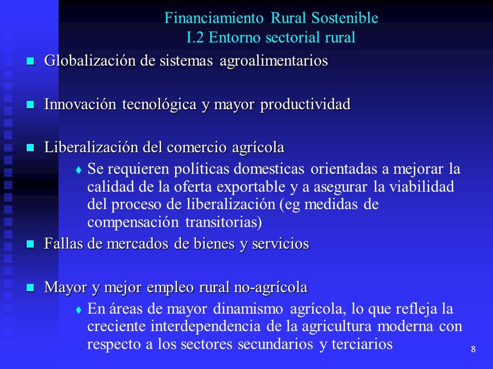 8 Financiamiento Rural Sostenible I.2 Entorno sectorial rural Globalización de sistemas agroalimentarios Globalización de sistemas agroalimentarios In