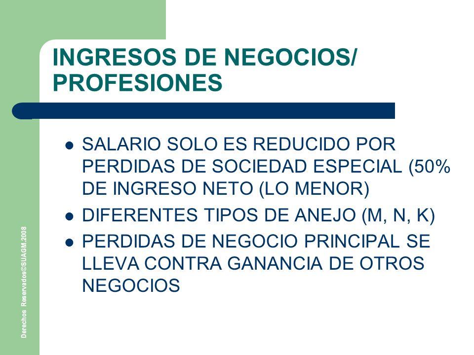 Derechos Reservados©SUAGM.2008 INGRESOS DE NEGOCIOS/ PROFESIONES SALARIO SOLO ES REDUCIDO POR PERDIDAS DE SOCIEDAD ESPECIAL (50% DE INGRESO NETO (LO MENOR) DIFERENTES TIPOS DE ANEJO (M, N, K) PERDIDAS DE NEGOCIO PRINCIPAL SE LLEVA CONTRA GANANCIA DE OTROS NEGOCIOS