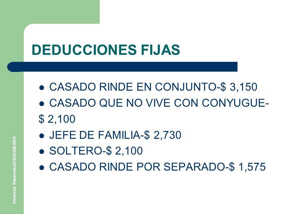 Derechos Reservados©SUAGM.2008 DEDUCCIONES FIJAS CASADO RINDE EN CONJUNTO-$ 3,150 CASADO QUE NO VIVE CON CONYUGUE- $ 2,100 JEFE DE FAMILIA-$ 2,730 SOLTERO-$ 2,100 CASADO RINDE POR SEPARADO-$ 1,575