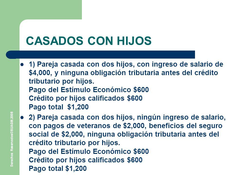 Derechos Reservados©SUAGM.2008 CASADOS CON HIJOS 1) Pareja casada con dos hijos, con ingreso de salario de $4,000, y ninguna obligación tributaria antes del crédito tributario por hijos.