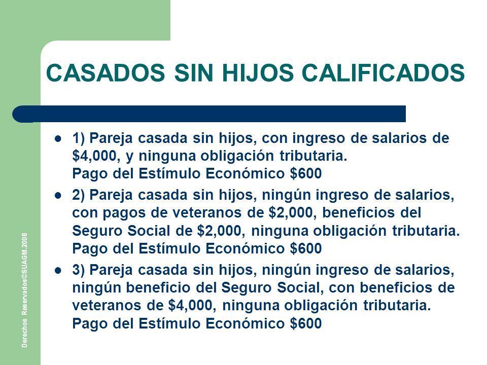 Derechos Reservados©SUAGM.2008 CASADOS SIN HIJOS CALIFICADOS 1) Pareja casada sin hijos, con ingreso de salarios de $4,000, y ninguna obligación tributaria.